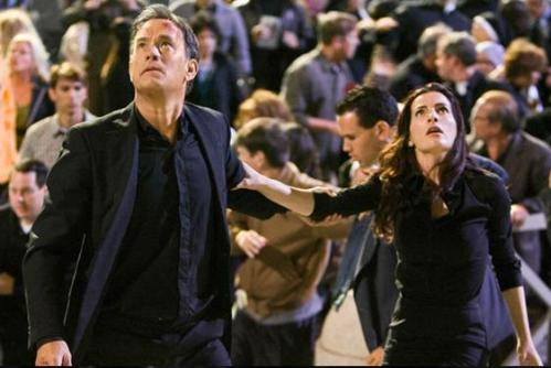 Tom Hanks and Ayelet Zurer as Robert Langdon and Vittoria Vetra in Angels & Demons