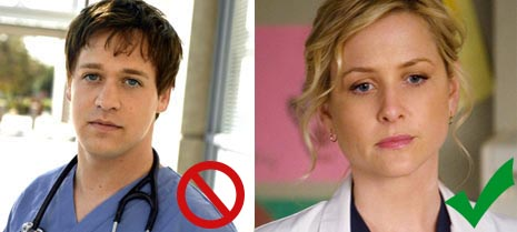 T.R. Knight (L.) and Jessica Capshaw (R.)